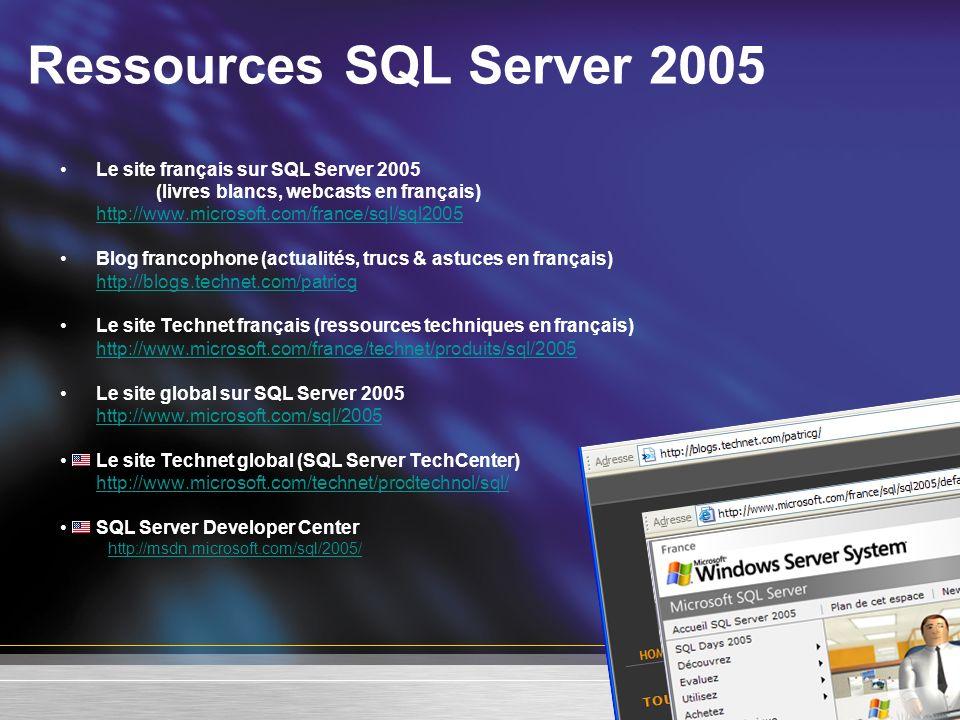 Ressources SQL Server 2005 Le site français sur SQL Server 2005 (livres blancs, webcasts en français) http://www.microsoft.com/france/sql/sql2005 Blog