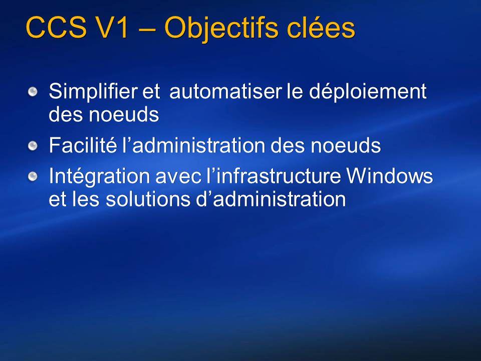 CCS V1 – Objectifs clées Simplifier et automatiser le déploiement des noeuds Facilité ladministration des noeuds Intégration avec linfrastructure Windows et les solutions dadministration Simplifier et automatiser le déploiement des noeuds Facilité ladministration des noeuds Intégration avec linfrastructure Windows et les solutions dadministration