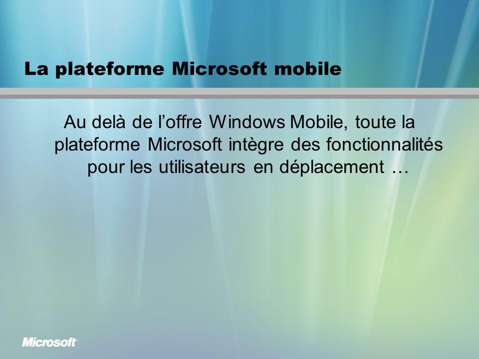 La plateforme Microsoft mobile Au delà de loffre Windows Mobile, toute la plateforme Microsoft intègre des fonctionnalités pour les utilisateurs en déplacement …