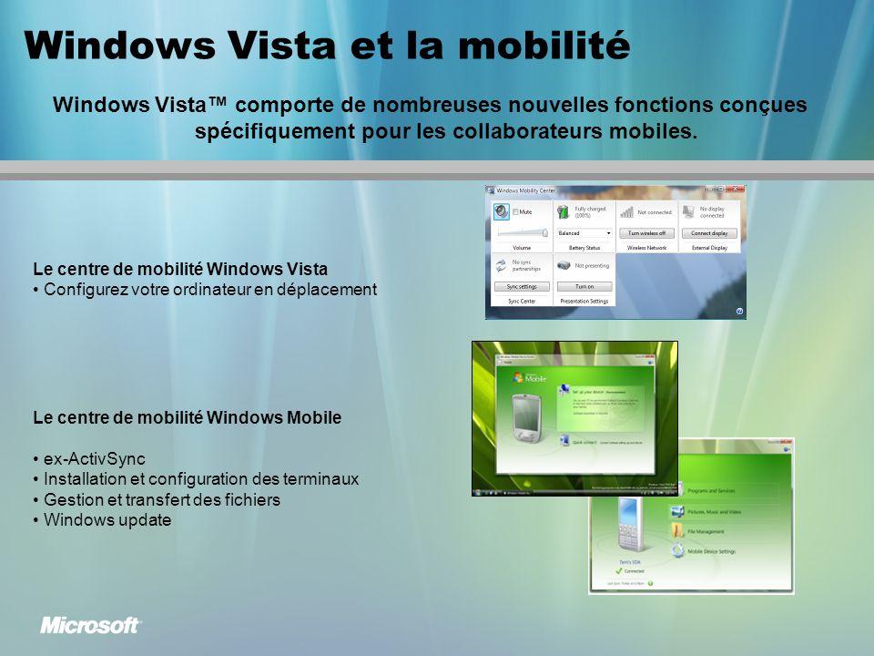 Windows Vista et la mobilité Windows Vista comporte de nombreuses nouvelles fonctions conçues spécifiquement pour les collaborateurs mobiles.