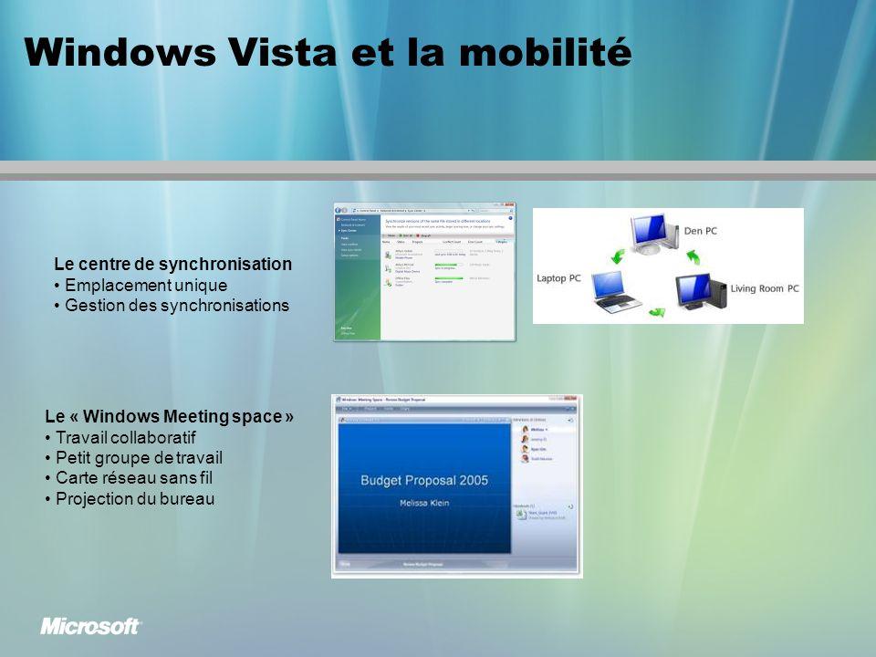 Windows Vista et la mobilité Le centre de synchronisation Emplacement unique Gestion des synchronisations Le « Windows Meeting space » Travail collaboratif Petit groupe de travail Carte réseau sans fil Projection du bureau