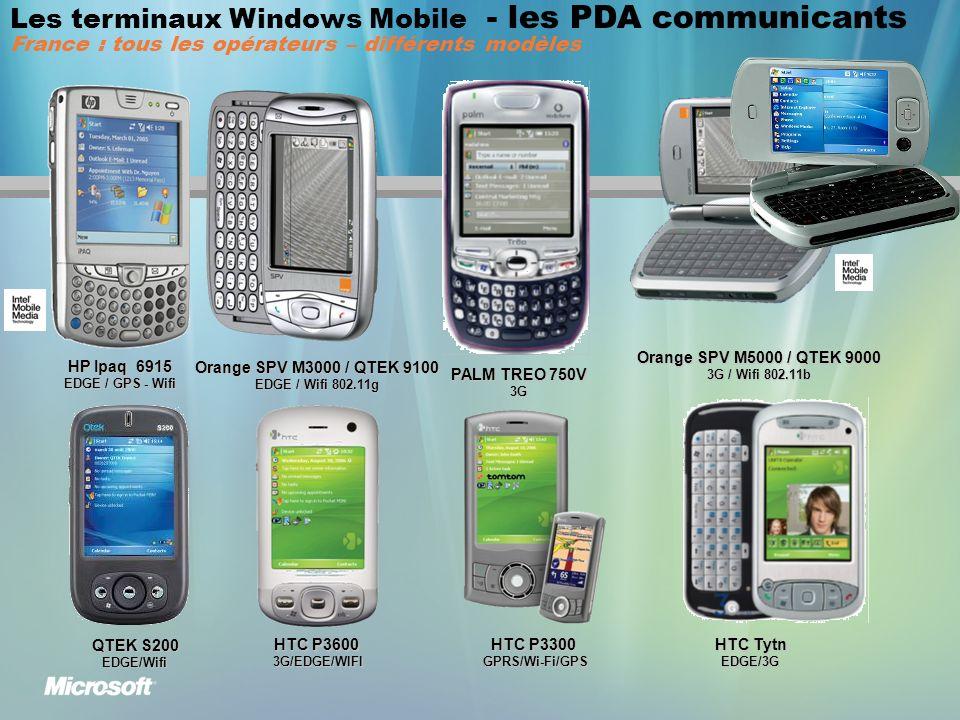 Les terminaux Windows Mobile - les PDA communicants France : tous les opérateurs – différents modèles HP Ipaq 6915 EDGE / GPS - Wifi Orange SPV M3000 / QTEK 9100 EDGE / Wifi 802.11g Orange SPV M5000 / QTEK 9000 3G / Wifi 802.11b QTEK S200 EDGE/Wifi PALM TREO 750V 3G HTC P3600 3G/EDGE/WIFI HTC P3300 GPRS/Wi-Fi/GPS HTC Tytn EDGE/3G