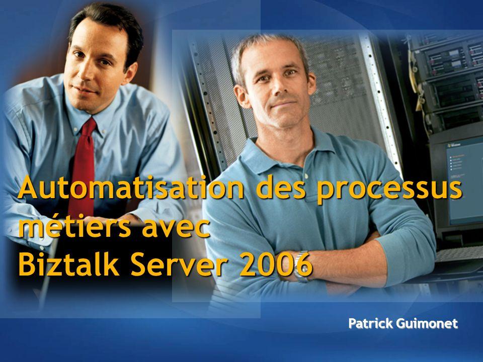 Clients : plus de 5 000 depuis Septembre 2005 Plus de 200 connecteurs disponibles 88% des entreprises Fortune 100 40% des entreprises Global 100 65% des entreprises Fortune 500 3500 3000 2500 2000 1500 1000 500 0 02 01 03 04 05 Adoption de BizTalk Server 5 000+
