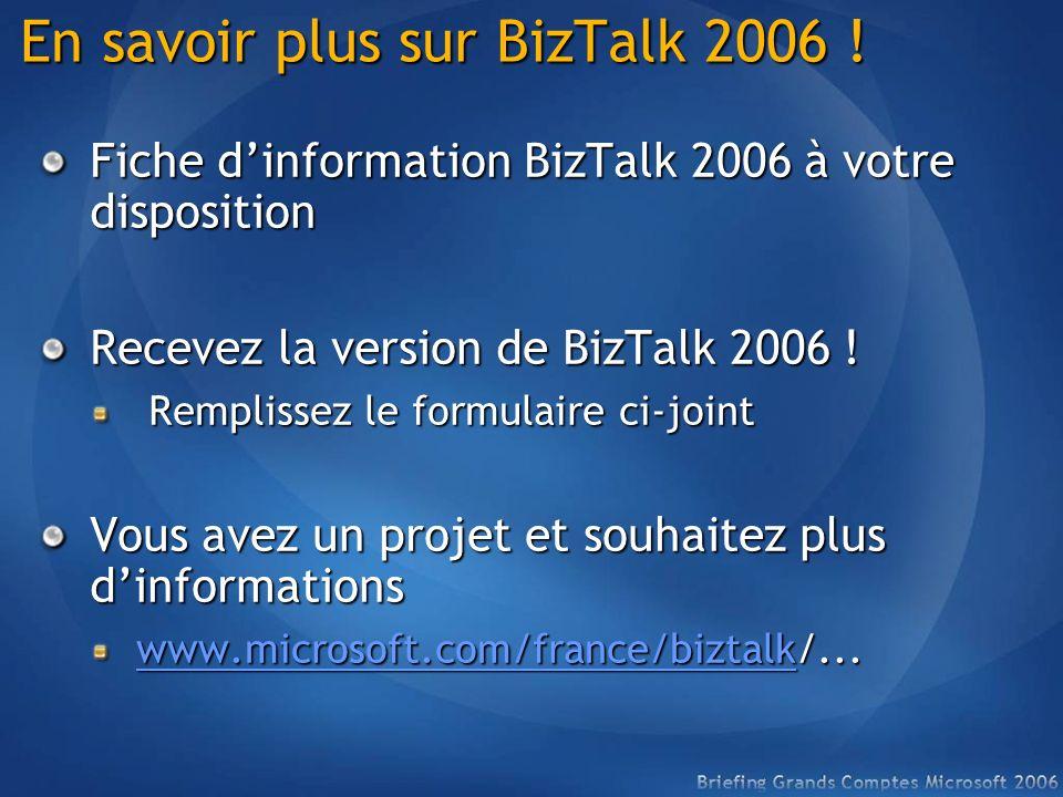En savoir plus sur BizTalk 2006 ! Fiche dinformation BizTalk 2006 à votre disposition Recevez la version de BizTalk 2006 ! Remplissez le formulaire ci