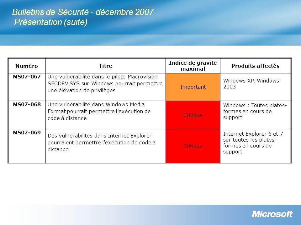 Bulletins de Sécurité - décembre 2007 Résumé des niveaux de criticité Numéro Windows 2000 SP4 Windows XP SP2 Windows Server 2003 SP1 et Windows Server 2003 SP2 Windows Vista MS07-063 Non applicable Important MS07-064 Critique MS07-065 Important Non applicable MS07-066 Non applicable Important
