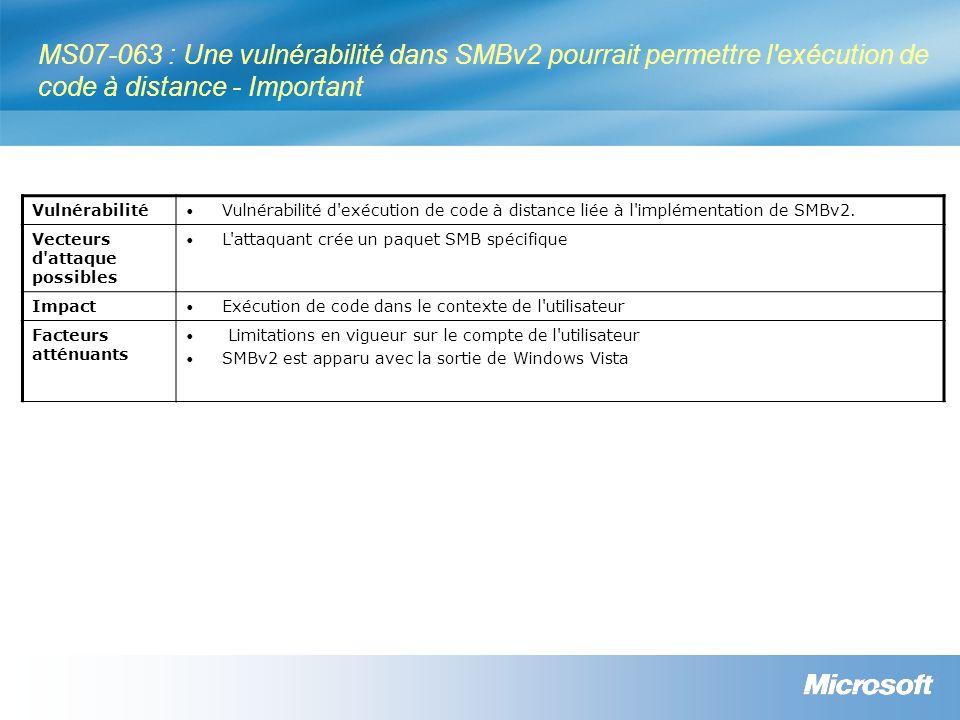 Ressources Webcast des bulletins de sécurité Résumé des bulletins de sécurité http://www.microsoft.com/france/technet/security/bulletin/ms07-dec.mspx Bulletins de sécurité http://www.microsoft.com/france/technet/security/bulletin Programme de conseils sécurité Microsoft : Glossaire http://www.microsoft.com/france/technet/security/bulletin/glossary.mspx Avis de sécurité http://www.microsoft.com/france/technet/security/advisory Blog du MSRC (Microsoft Security Response Center) http://blogs.technet.com/msrc Notifications http://www.microsoft.com/france/securite/newsletters.mspx TechNet Radio (en anglais) http://www.microsoft.com/tnradio Microsoft France sécurité http://www.microsoft.com/france/securite Lettres d information http://www.microsoft.com/france/securite/newsletters.mspx TechNet sécurité http://www.microsoft.com/france/technet/security