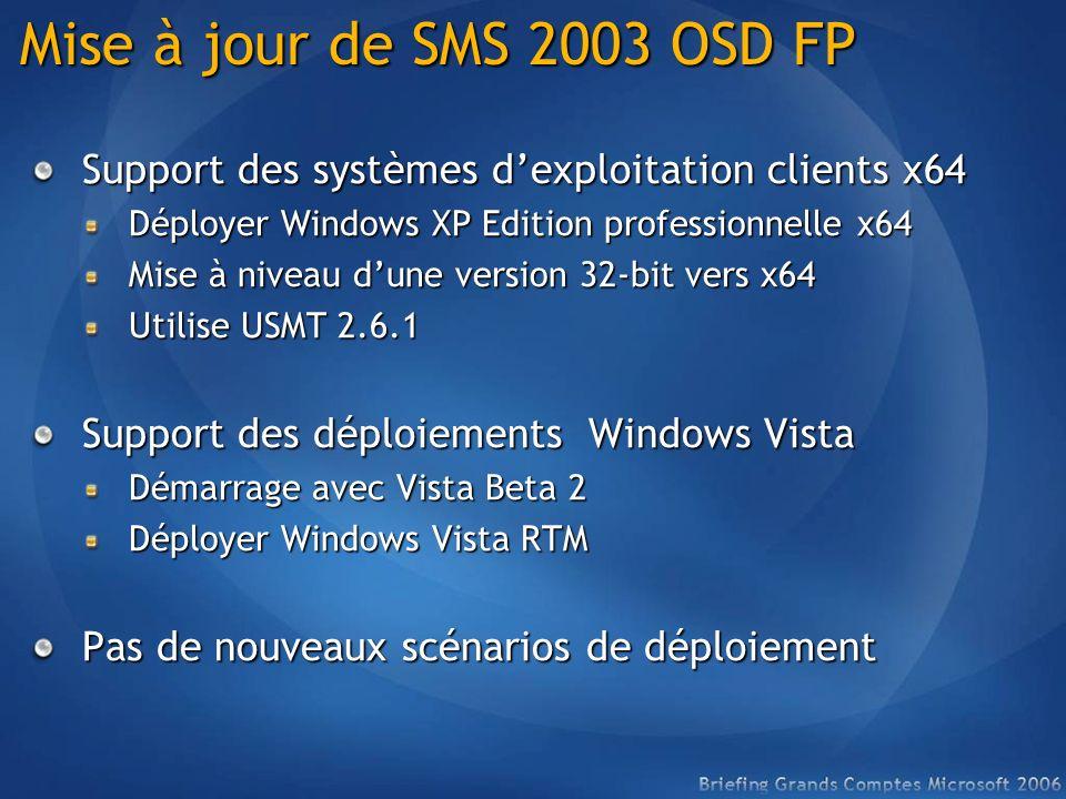 Mise à jour de SMS 2003 OSD FP Support des systèmes dexploitation clients x64 Déployer Windows XP Edition professionnelle x64 Mise à niveau dune versi