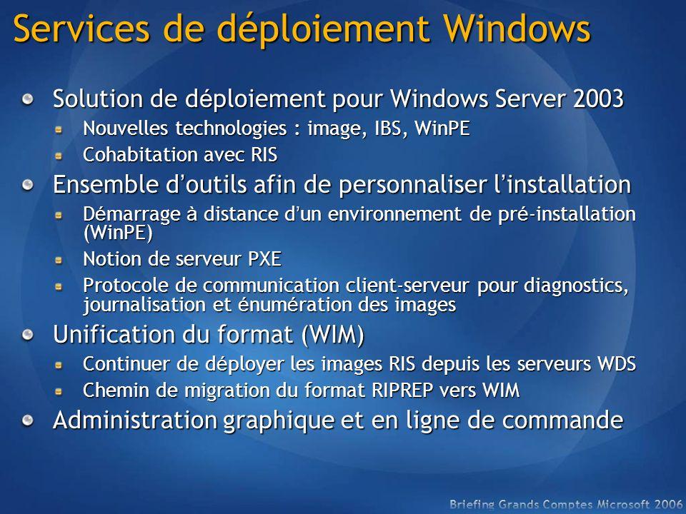 Services de déploiement Windows Solution de d é ploiement pour Windows Server 2003 Nouvelles technologies : image, IBS, WinPE Cohabitation avec RIS En