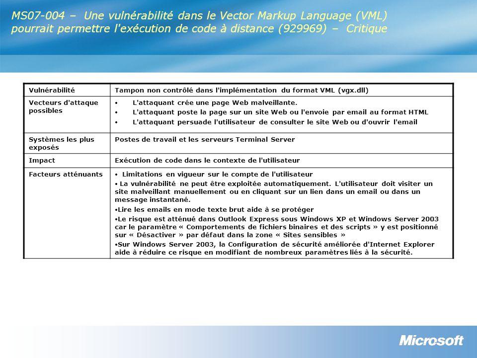 MS07-004 – Une vulnérabilité dans le Vector Markup Language (VML) pourrait permettre l exécution de code à distance (929969) – Critique VulnérabilitéTampon non contrôlé dans l implémentation du format VML (vgx.dll) Vecteurs d attaque possibles L attaquant crée une page Web malveillante.