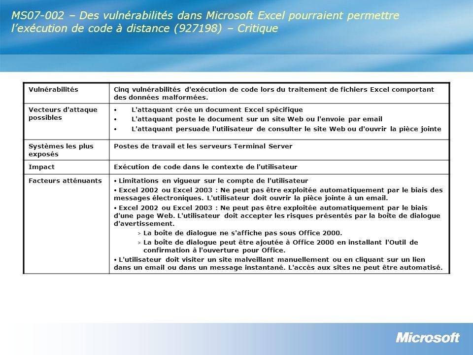 MS07-002 – Des vulnérabilités dans Microsoft Excel pourraient permettre lexécution de code à distance (927198) – Critique VulnérabilitésCinq vulnérabilités d exécution de code lors du traitement de fichiers Excel comportant des données malformées.