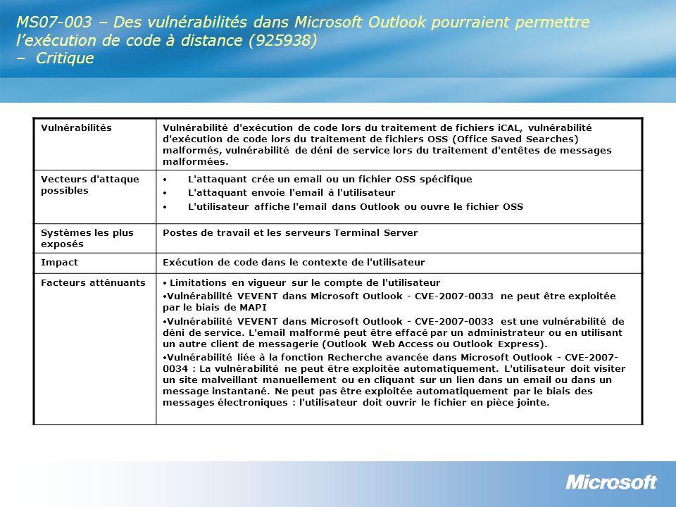 MS07-003 – Des vulnérabilités dans Microsoft Outlook pourraient permettre lexécution de code à distance (925938) – Critique VulnérabilitésVulnérabilité d exécution de code lors du traitement de fichiers iCAL, vulnérabilité d exécution de code lors du traitement de fichiers OSS (Office Saved Searches) malformés, vulnérabilité de déni de service lors du traitement d entêtes de messages malformées.