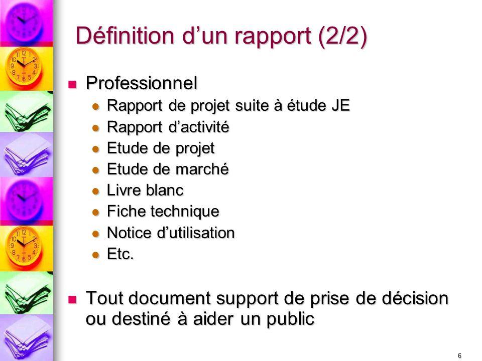 6 Définition dun rapport (2/2) Professionnel Professionnel Rapport de projet suite à étude JE Rapport de projet suite à étude JE Rapport dactivité Rap