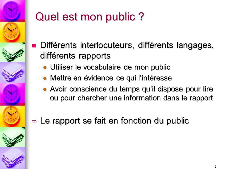 8 Quel est mon public ? Différents interlocuteurs, différents langages, différents rapports Différents interlocuteurs, différents langages, différents