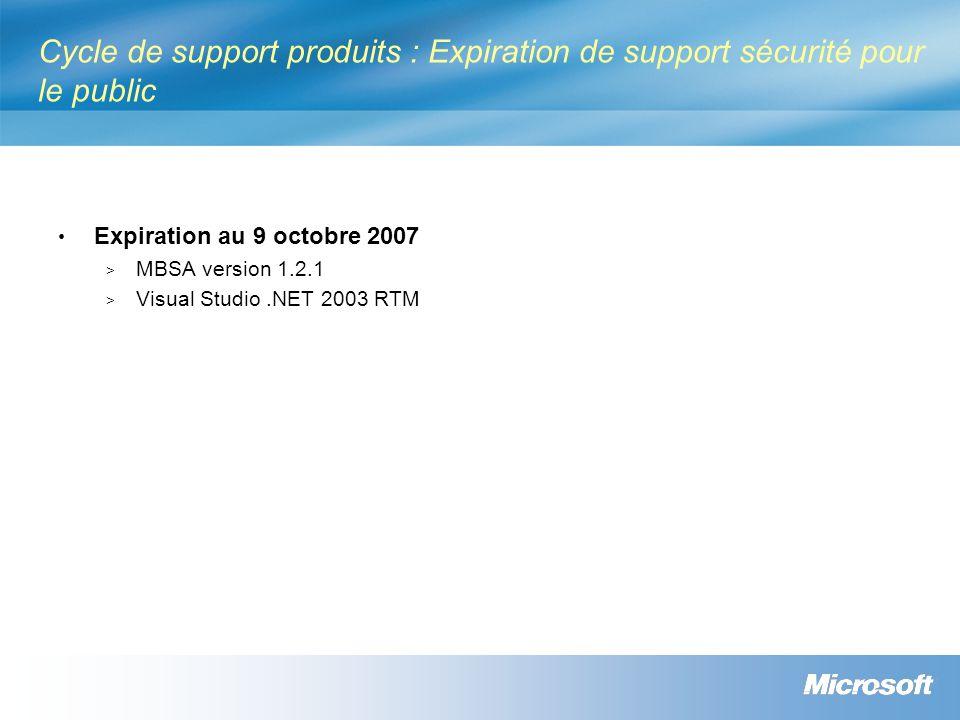 Cycle de support produits : Expiration de support sécurité pour le public Expiration au 9 octobre 2007 > MBSA version 1.2.1 > Visual Studio.NET 2003 R