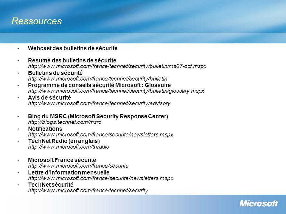 Ressources Webcast des bulletins de sécurité Résumé des bulletins de sécurité http://www.microsoft.com/france/technet/security/bulletin/ms07-oct.mspx