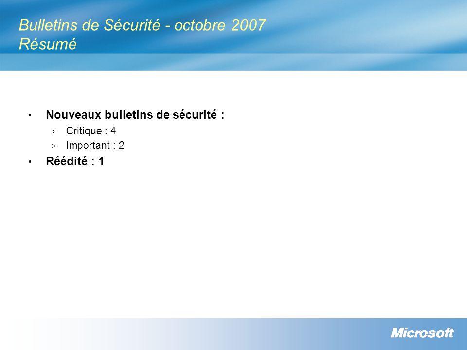 Bulletins de Sécurité - octobre 2007 Résumé Nouveaux bulletins de sécurité : > Critique : 4 > Important : 2 Réédité : 1