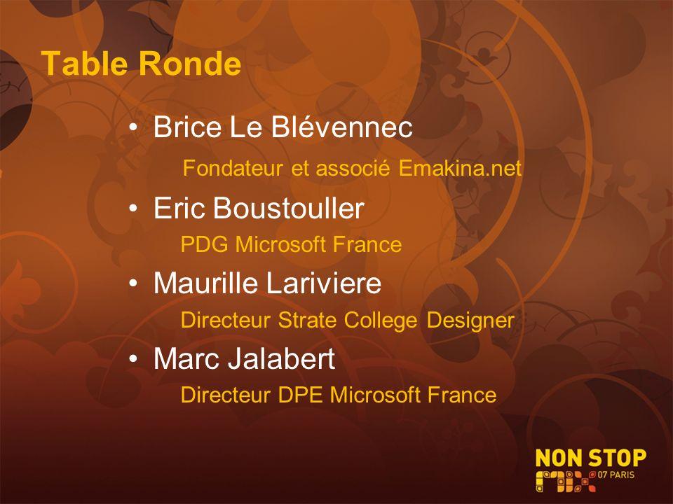 Table Ronde Brice Le Blévennec Fondateur et associé Emakina.net Eric Boustouller PDG Microsoft France Maurille Lariviere Directeur Strate College Desi