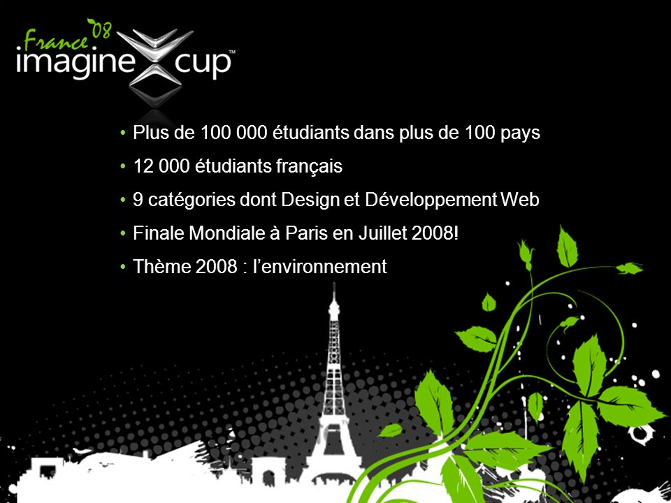 Plus de 100 000 étudiants dans plus de 100 pays 12 000 étudiants français 9 catégories dont Design et Développement Web Finale Mondiale à Paris en Juillet 2008.