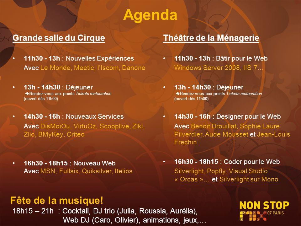 Agenda Grande salle du Cirque 11h30 - 13h : Nouvelles Expériences Avec Le Monde, Meetic, lIscom, Danone 13h - 14h30 : Déjeuner Rendez-vous aux points