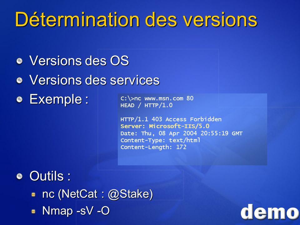 Détermination des versions Versions des OS Versions des services Exemple : Outils : nc (NetCat : @Stake) Nmap -sV -O C:\>nc www.msn.com 80 HEAD / HTTP