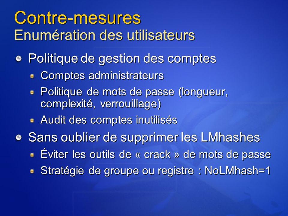 Contre-mesures Enumération des utilisateurs Politique de gestion des comptes Comptes administrateurs Politique de mots de passe (longueur, complexité,