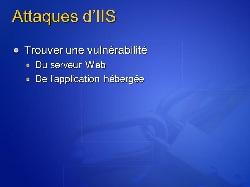 Attaques dIIS Trouver une vulnérabilité Du serveur Web De lapplication hébergée