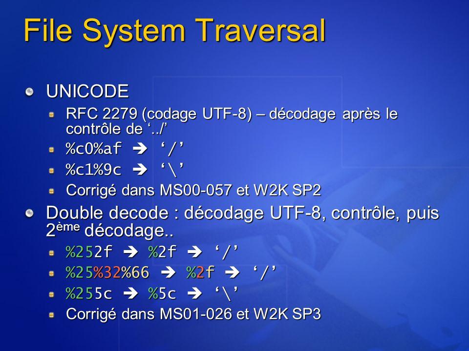 File System Traversal UNICODE RFC 2279 (codage UTF-8) – décodage après le contrôle de../ %c0%af / %c1%9c \ Corrigé dans MS00-057 et W2K SP2 Double dec