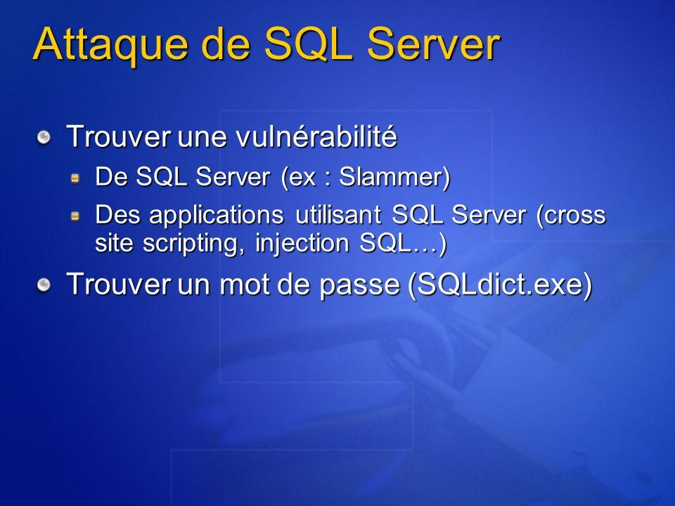 Attaque de SQL Server Trouver une vulnérabilité De SQL Server (ex : Slammer) Des applications utilisant SQL Server (cross site scripting, injection SQ