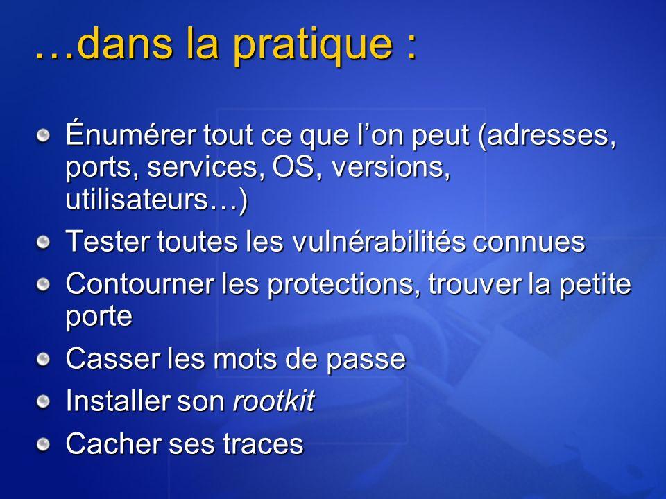 …dans la pratique : Énumérer tout ce que lon peut (adresses, ports, services, OS, versions, utilisateurs…) Tester toutes les vulnérabilités connues Co