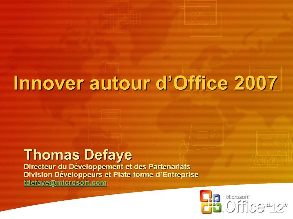 Innover autour dOffice 2007 Thomas Defaye Directeur du Développement et des Partenariats Division Développeurs et Plate-forme dEntreprise tdefaye@microsoft.com