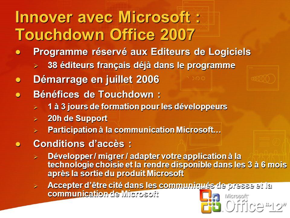 Innover avec Microsoft : Touchdown Office 2007 Programme réservé aux Editeurs de Logiciels Programme réservé aux Editeurs de Logiciels 38 éditeurs français déjà dans le programme 38 éditeurs français déjà dans le programme Démarrage en juillet 2006 Démarrage en juillet 2006 Bénéfices de Touchdown : Bénéfices de Touchdown : 1 à 3 jours de formation pour les développeurs 1 à 3 jours de formation pour les développeurs 20h de Support 20h de Support Participation à la communication Microsoft… Participation à la communication Microsoft… Conditions daccès : Conditions daccès : Développer / migrer / adapter votre application à la technologie choisie et la rendre disponible dans les 3 à 6 mois après la sortie du produit Microsoft Développer / migrer / adapter votre application à la technologie choisie et la rendre disponible dans les 3 à 6 mois après la sortie du produit Microsoft Accepter dêtre cité dans les communiqués de presse et la communication de Microsoft Accepter dêtre cité dans les communiqués de presse et la communication de Microsoft