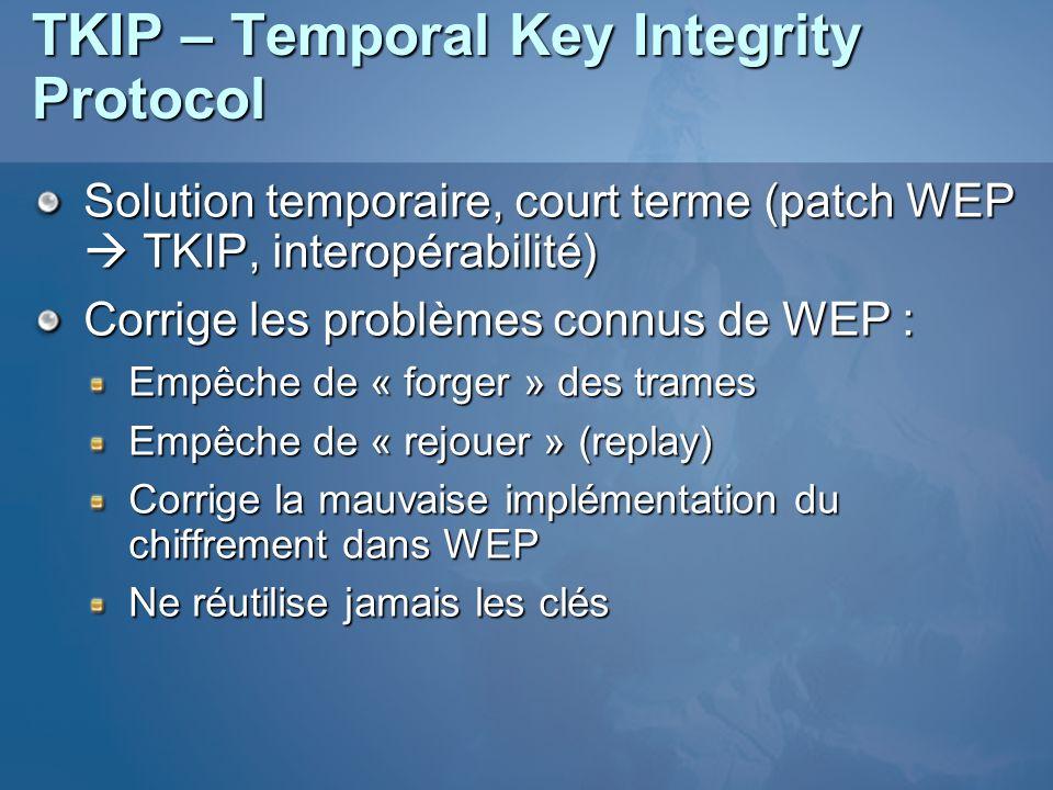 TKIP – Temporal Key Integrity Protocol Solution temporaire, court terme (patch WEP TKIP, interopérabilité) Corrige les problèmes connus de WEP : Empêc