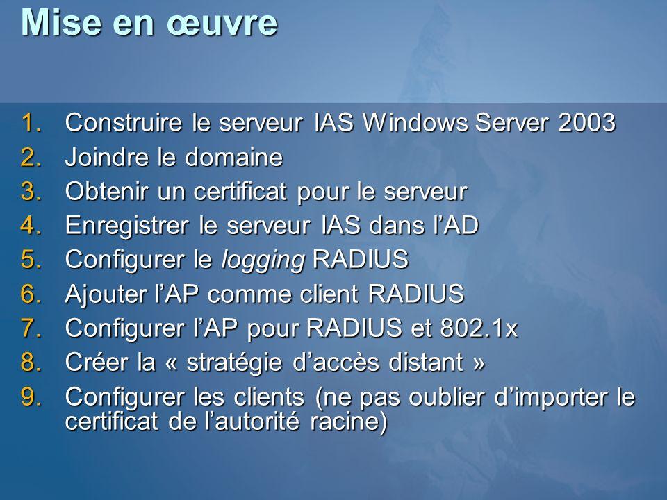 Mise en œuvre Construire le serveur IAS Windows Server 2003 Construire le serveur IAS Windows Server 2003 Joindre le domaine Joindre le domaine Obteni