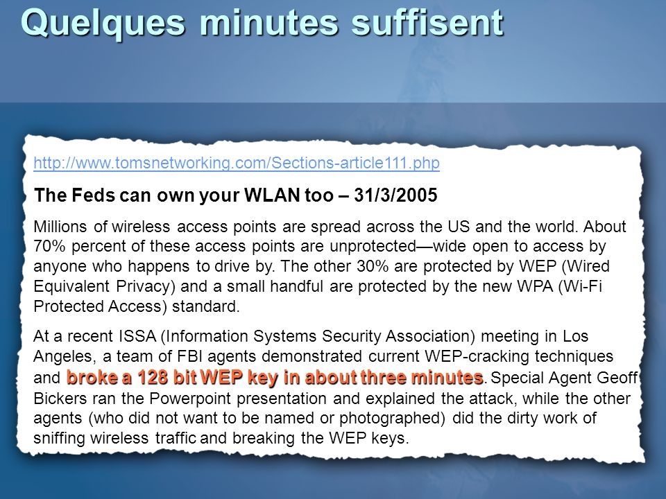 Securing Wireless LANs - A Windows Server 2003 Certificate Services Solution http://www.microsoft.com/technet/security/prodtec h/win2003/pkiwire/SWLAN.mspx http://go.microsoft.com/fwlink/?LinkId=14844