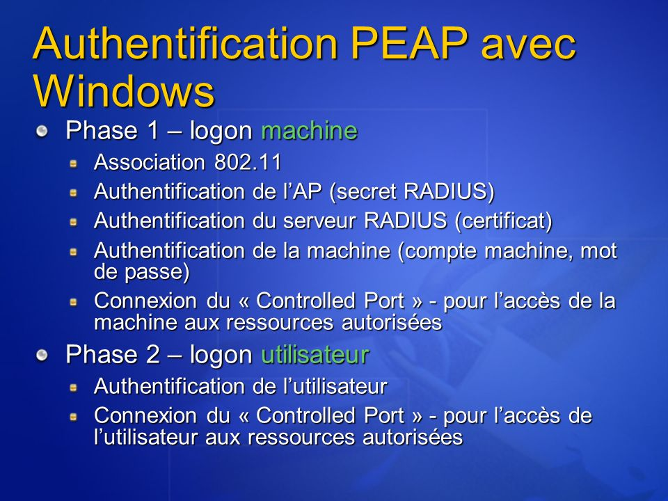 Authentification PEAP avec Windows Phase 1 – logon machine Association 802.11 Authentification de lAP (secret RADIUS) Authentification du serveur RADI