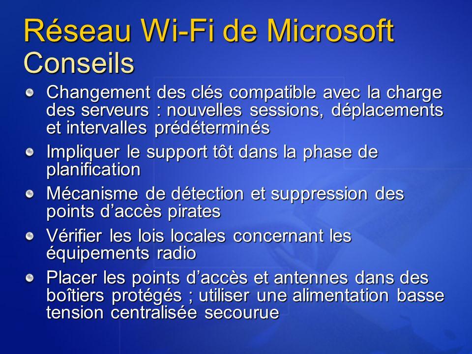 Réseau Wi-Fi de Microsoft Conseils Changement des clés compatible avec la charge des serveurs : nouvelles sessions, déplacements et intervalles prédét