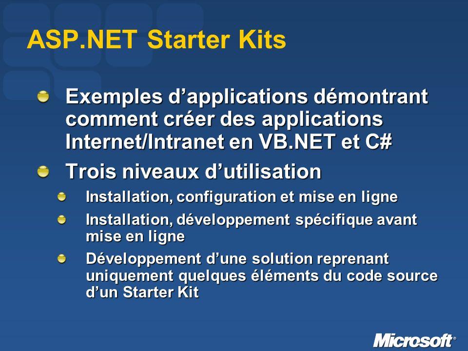 ASP.NET Starter Kits Exemples dapplications démontrant comment créer des applications Internet/Intranet en VB.NET et C# Trois niveaux dutilisation Installation, configuration et mise en ligne Installation, développement spécifique avant mise en ligne Développement dune solution reprenant uniquement quelques éléments du code source dun Starter Kit