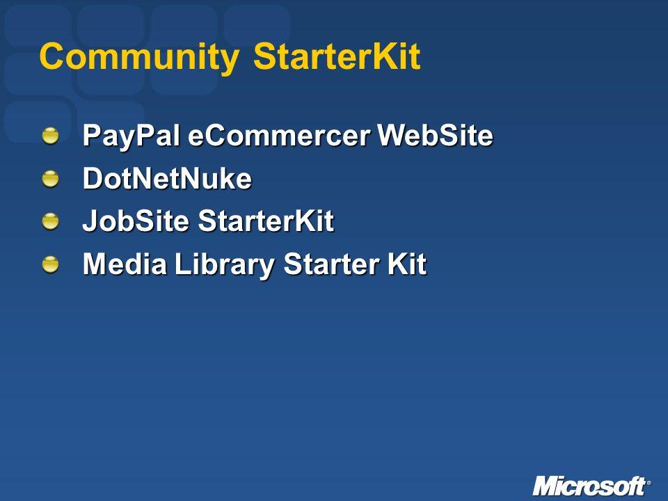 Community StarterKit PayPal eCommercer WebSite DotNetNuke JobSite StarterKit Media Library Starter Kit
