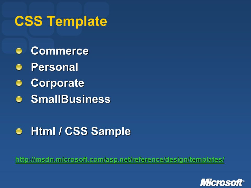 CSS Template CommercePersonalCorporateSmallBusiness Html / CSS Sample http://msdn.microsoft.com/asp.net/reference/design/templates/