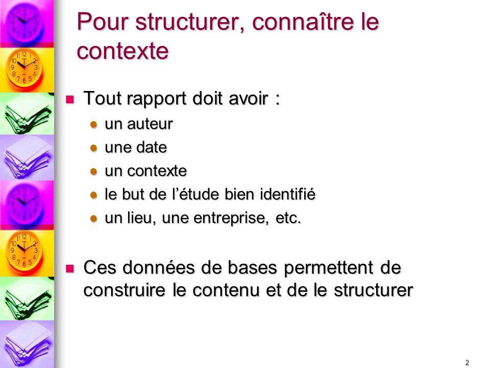 2 Pour structurer, connaître le contexte Tout rapport doit avoir : Tout rapport doit avoir : un auteur un auteur une date une date un contexte un cont