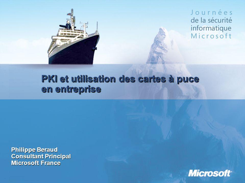 PKI et utilisation des cartes à puce en entreprise Philippe Beraud Consultant Principal Microsoft France