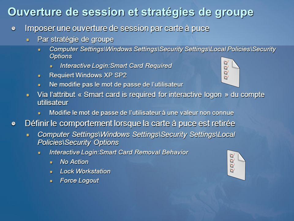 Ouverture de session et stratégies de groupe Imposer une ouverture de session par carte à puce Par stratégie de groupe Computer Settings\Windows Setti
