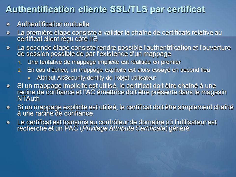 Authentification cliente SSL/TLS par certificat Authentification mutuelle La première étape consiste à valider la chaîne de certificats relative au ce