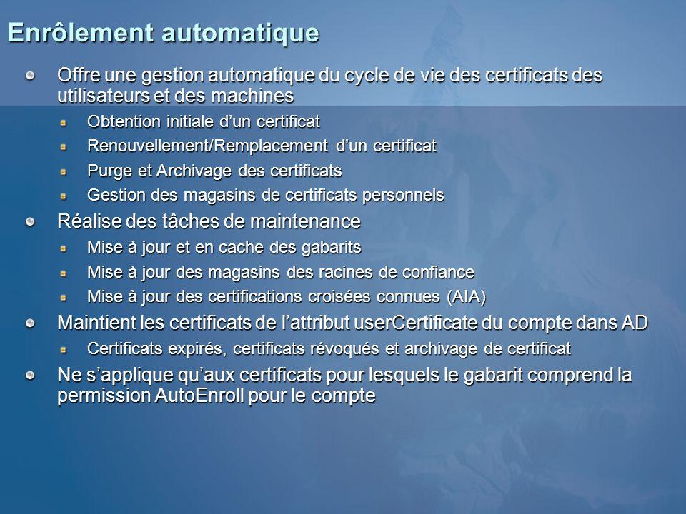 Enrôlement automatique Offre une gestion automatique du cycle de vie des certificats des utilisateurs et des machines Obtention initiale dun certifica
