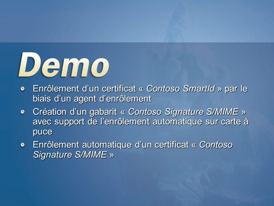 Enrôlement dun certificat « Contoso SmartId » par le biais dun agent denrôlement Création dun gabarit « Contoso Signature S/MIME » avec support de len