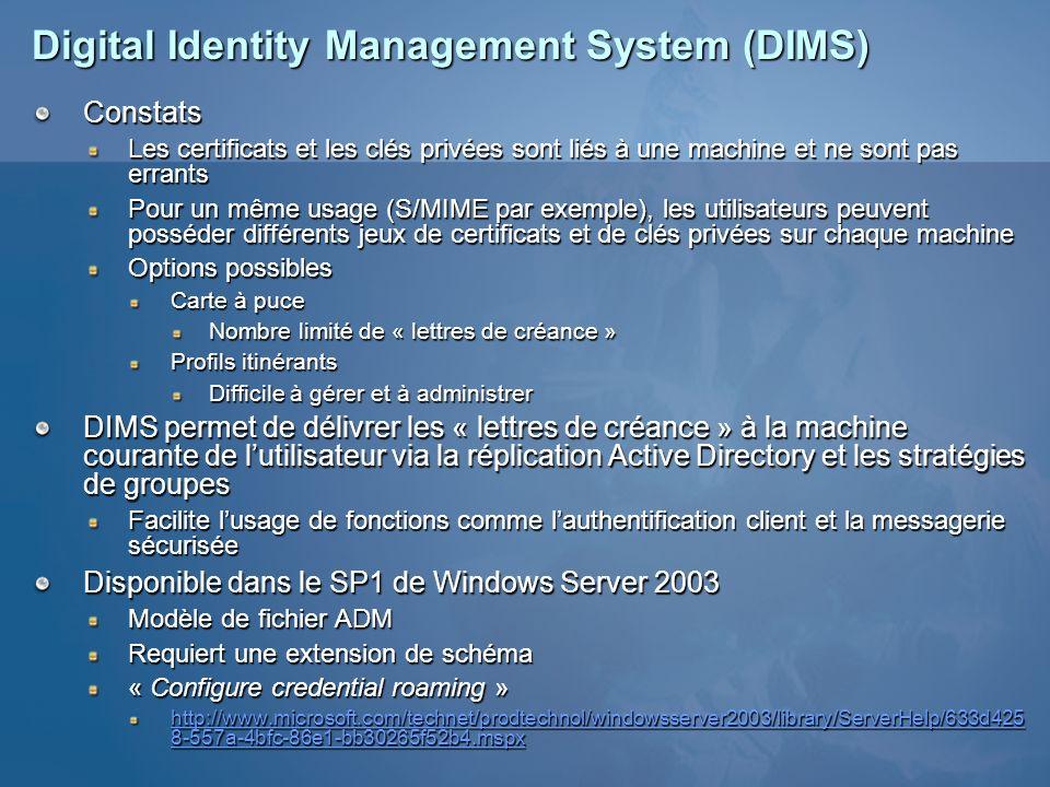 Digital Identity Management System (DIMS) Constats Les certificats et les clés privées sont liés à une machine et ne sont pas errants Pour un même usa