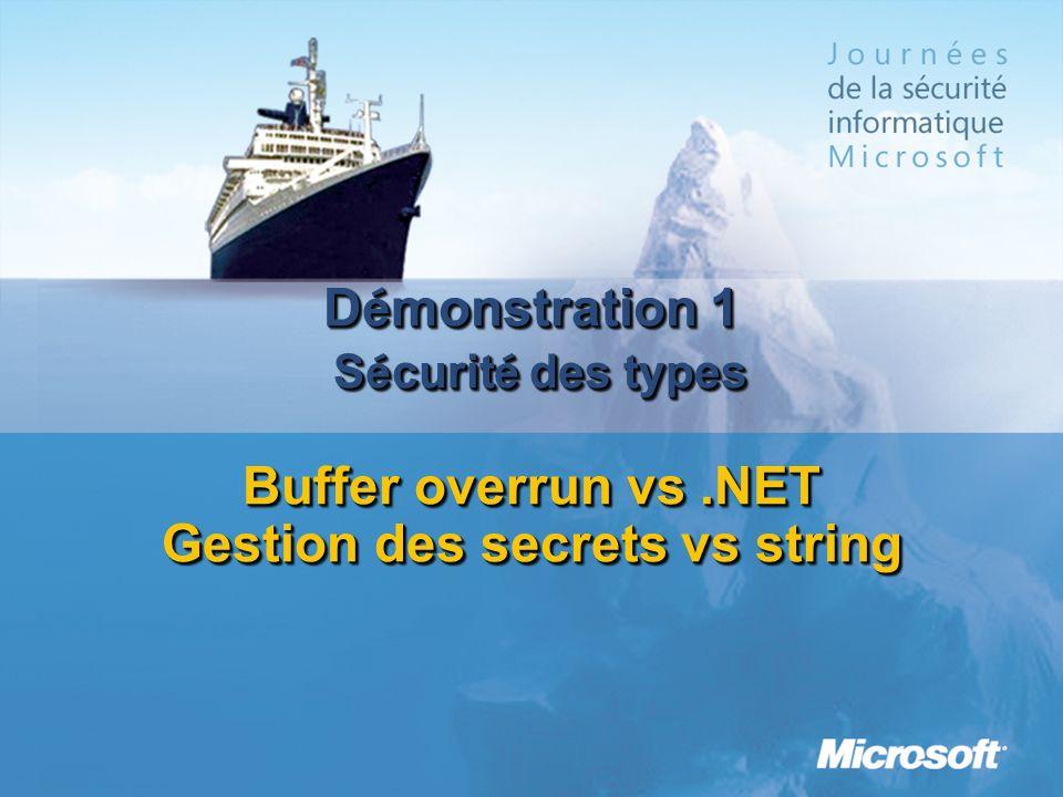 D é monstration 1 S é curit é des types Buffer overrun vs.NET Gestion des secrets vs string