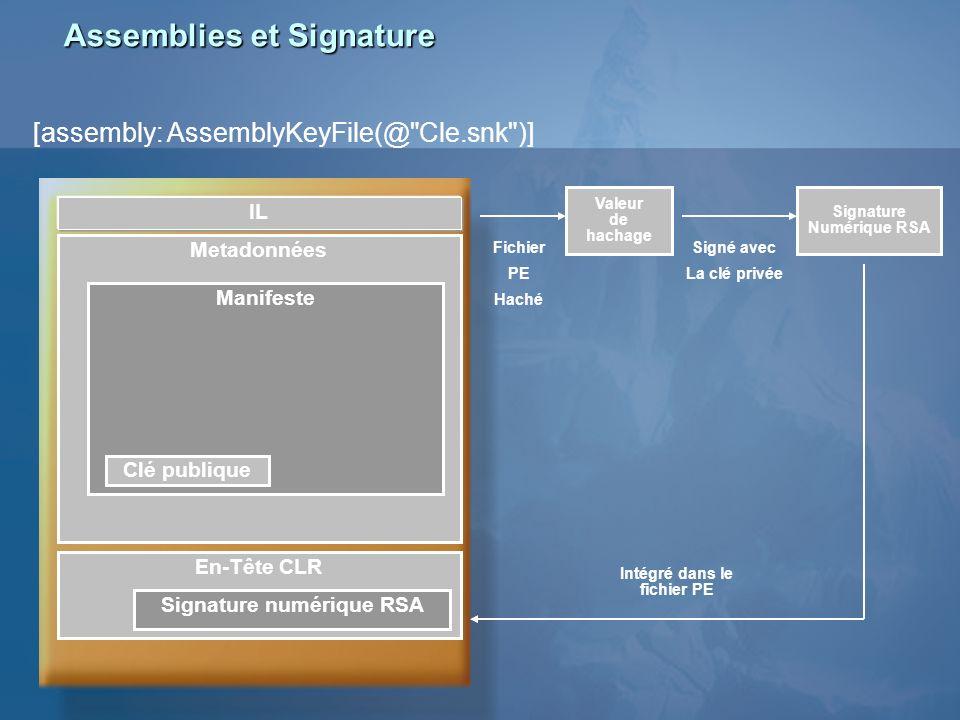 Assemblies et Signature [assembly: AssemblyKeyFile(@