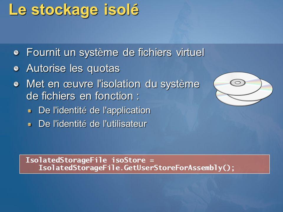 Le stockage isol é Fournit un syst è me de fichiers virtuel Autorise les quotas Met en œ uvre l'isolation du syst è me de fichiers en fonction : De l'
